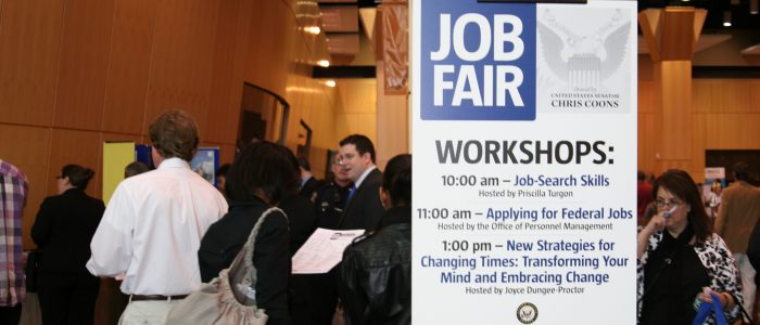 Use a handbill at job fairs